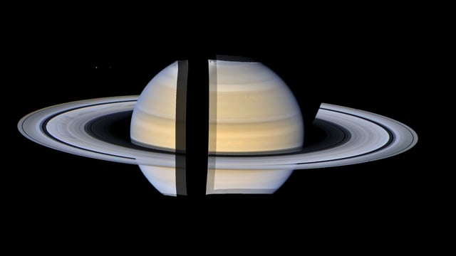 Saturn and its Rings in Widescreen